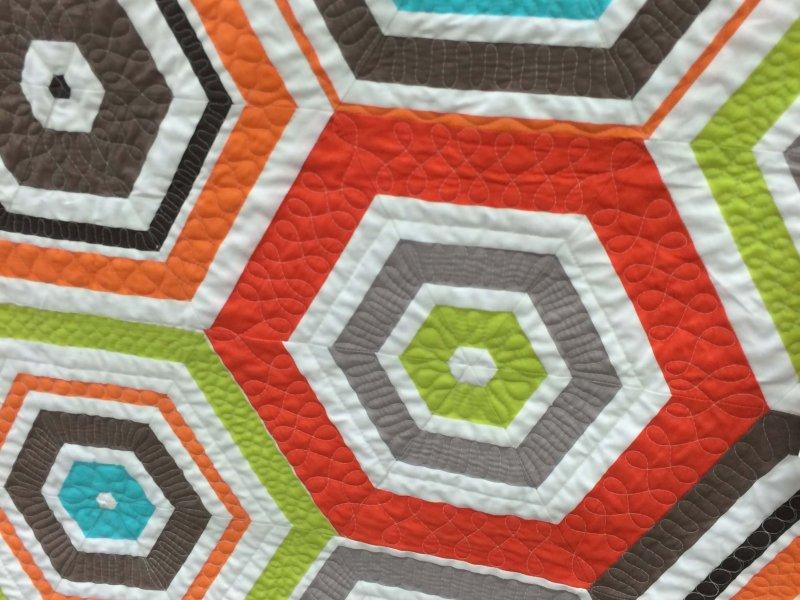 Hexagon stripe quilt