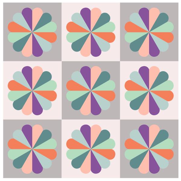 Illustration of a petal dresden fan quilt blocks in a quilt design