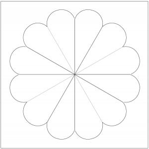 outlined illustration of petal dresden quilt block