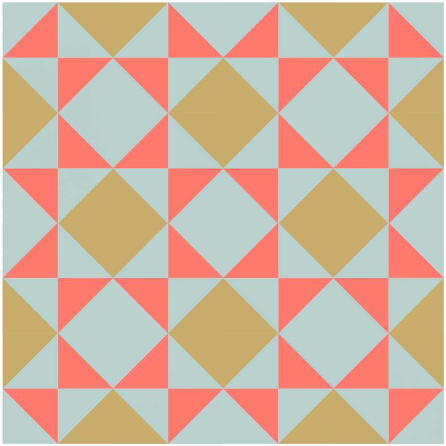 illustration of a grouping of broken dishes quilt blocks