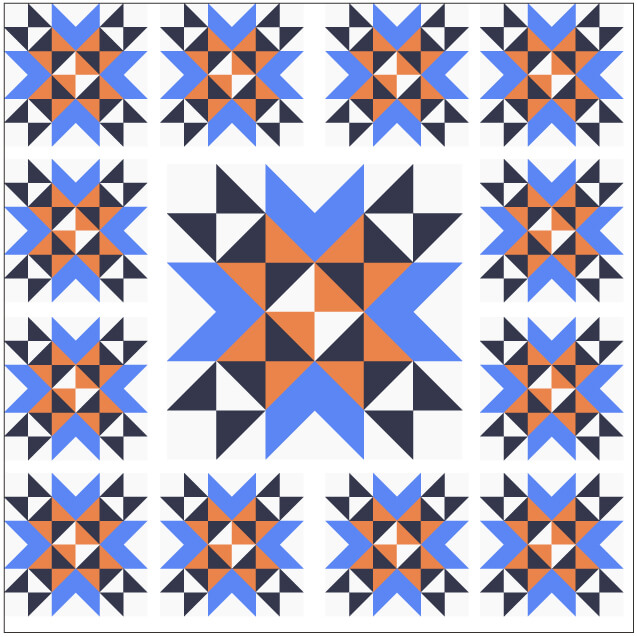 Illustration of Medallion Layout Grouping of Wyoming Valley Quilt Blocks