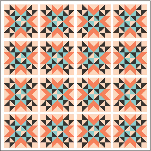 Illustration of Straight Set Grouping of Wyoming Valley Quilt Blocks with sashing