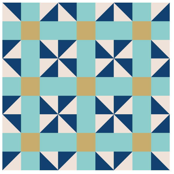 Illustration of a Grouping of Calico Puzzle Quilt Blocks