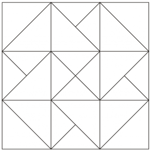 Outlined illustration of card trick quilt block