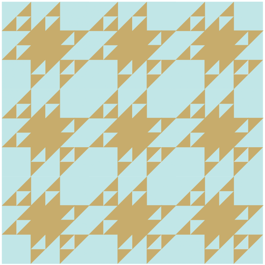 Illustration of a group of cat's cradle quilt blocks