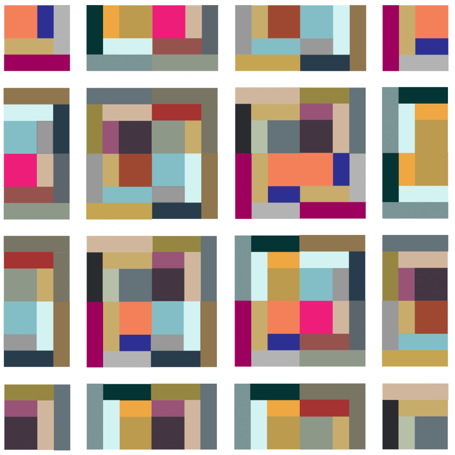 Illustration of City Streets Quilt Block Grouping