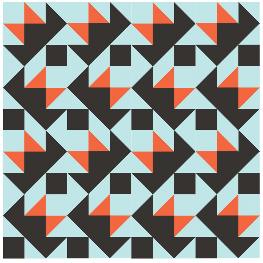Illustration of Darting Bird Quilt Blocks arranged with each row going in alternate directions