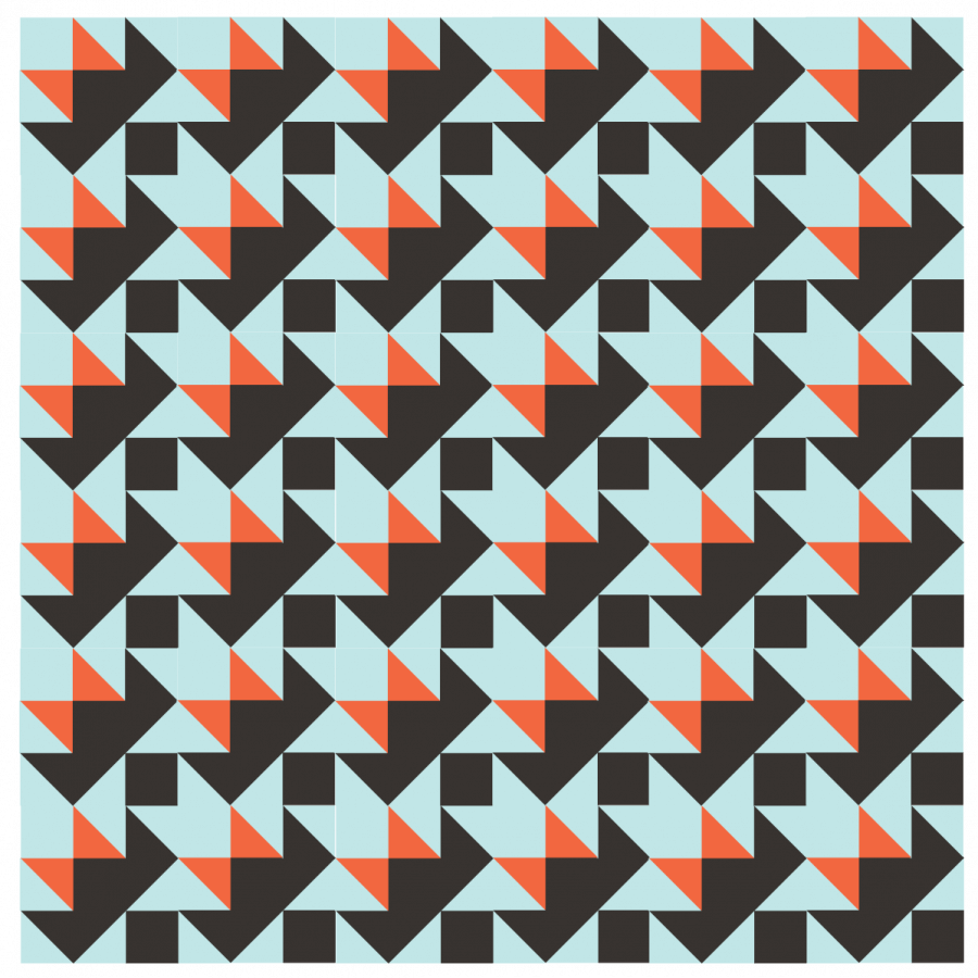 Illustration of Darting Bird Quilt Blocks arranged in Straight sets