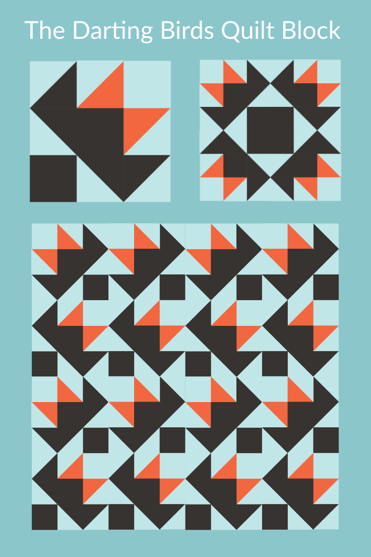 Pinnable Illustrations of various arrangements of the Darting Birds Quilt Block