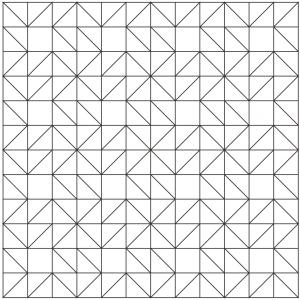 Outlined drawing of a group of Eccentric Star Quilt Blocks