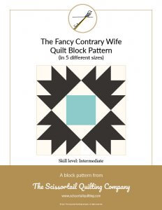 Click to download pattern for the Fancy Contrary Wife Quilt Block