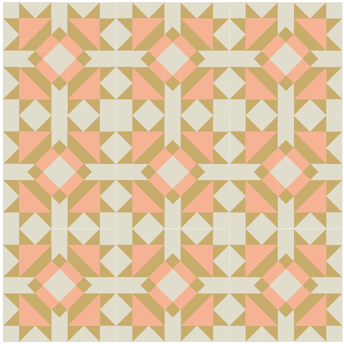 Illustration of a quilt made with Four Queens Quilt blocks