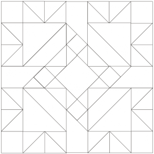Outlined illustration of the four queens quilt block