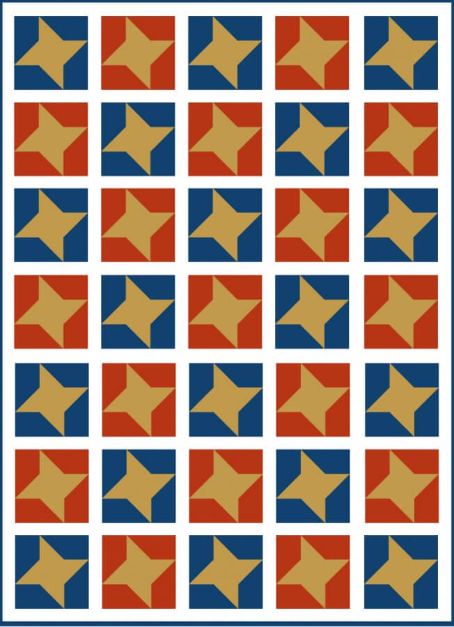 An illustration of A Patriotic Quilt Design using Friendship Star Block