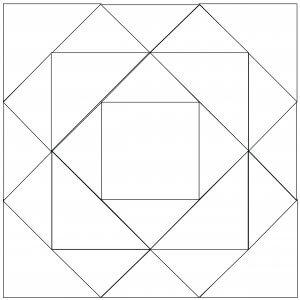 Outlined illustration of the Gentleman's Fancy Quilt Block