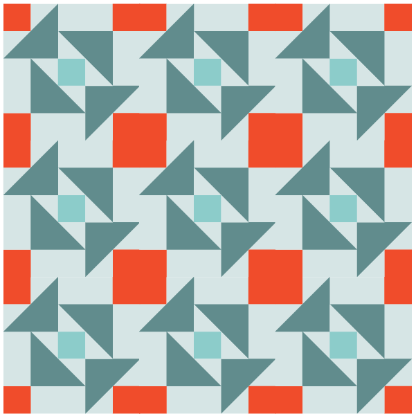 Illustration of a quilt made with Grandmother's Puzzle Quilt Blocks