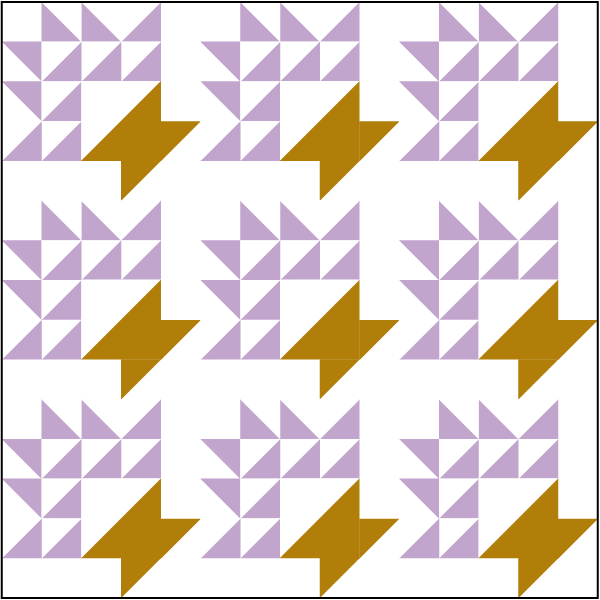 illustration of a quilt made with grape basket quilt blocks