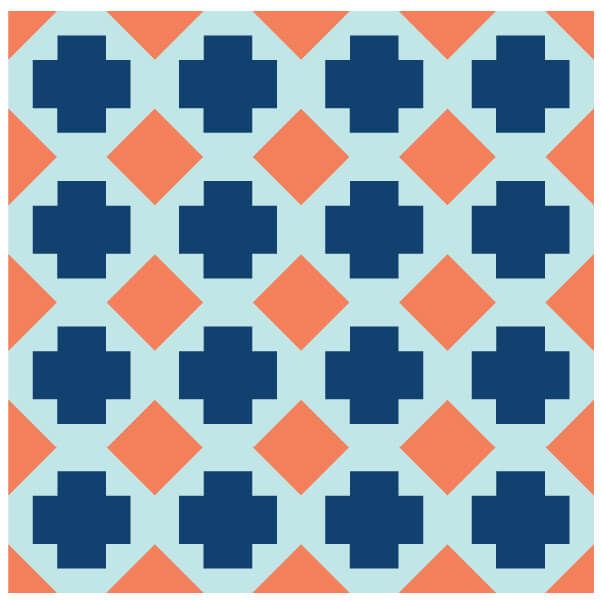 Illustration of Grouping of Geek Cross Quilt Blocks