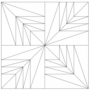 Outlined illustration of the hosanna quilt block