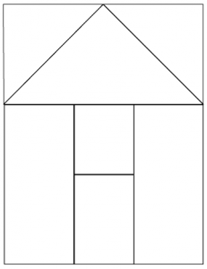 outlined illustration of house quilt block