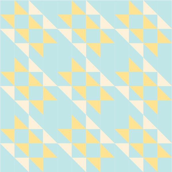 illustration of a 3x3 grouping of hovering hawks quilt blocks
