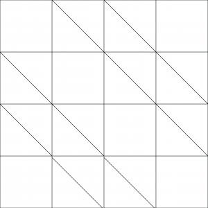 Outlined illustration of hovering hawks quilt block