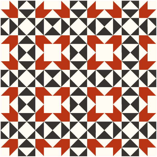 Outlined illustration of a quilt made with Indian Puzzle Quilt Blocks