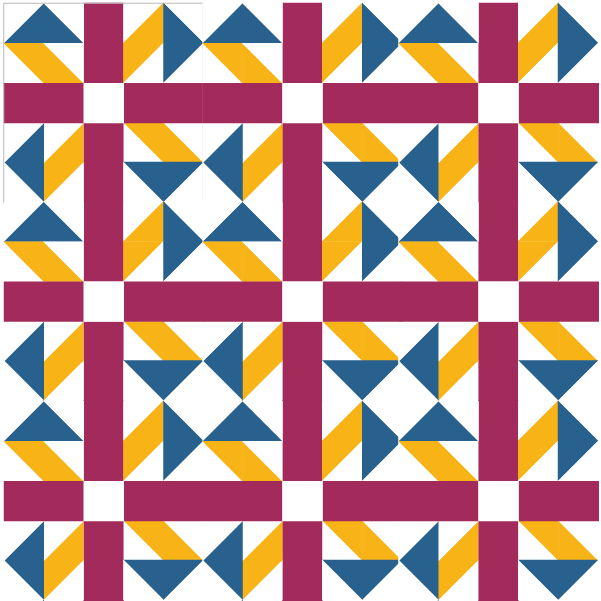 Illustration of a uqilt made with Jack in the Box quilt blocks