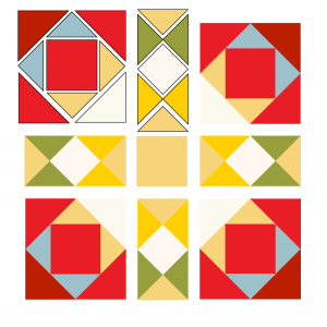exploded illustration of josephs coat quilt block
