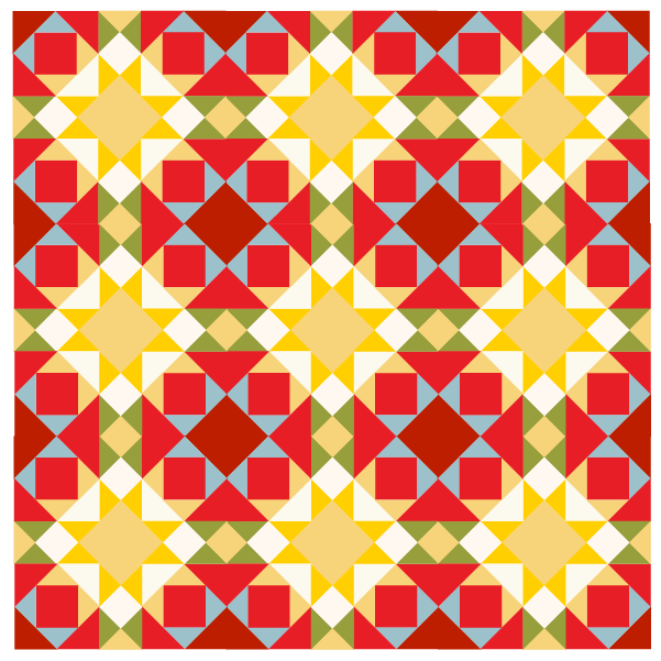 illustration of a quilt made with joephs coat quilt block