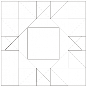 outlined illustration of the king david's crown quilt block
