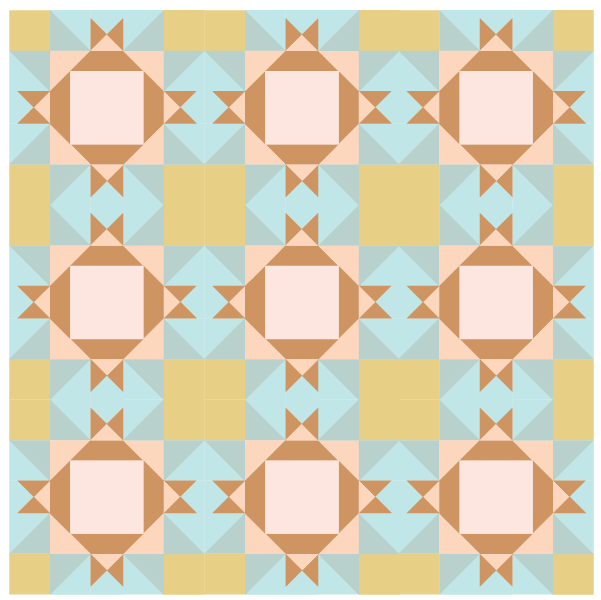illustration of a quilt made with King David's Crown Quilt blocks