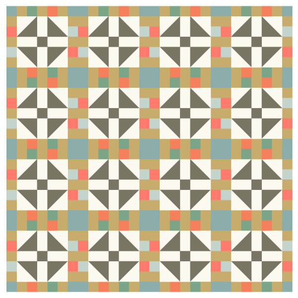 Illustration of a grouping of lincoln's platform quilt blocks