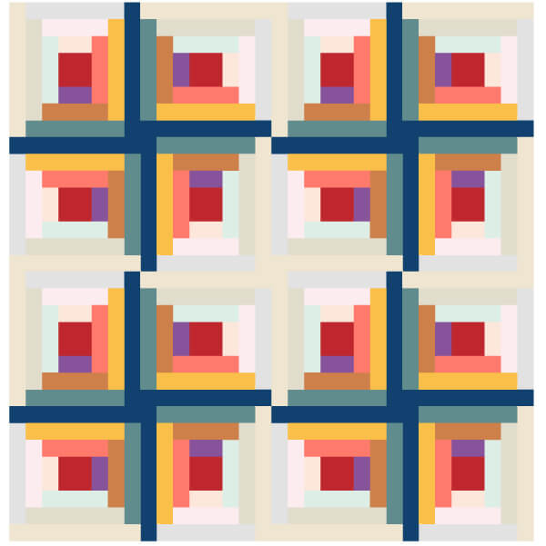 Grouping of Log Cabin Quilt Blocks 1