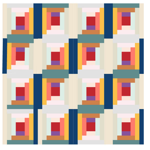 Grouping of Log Cabin Quilt Blocks 3