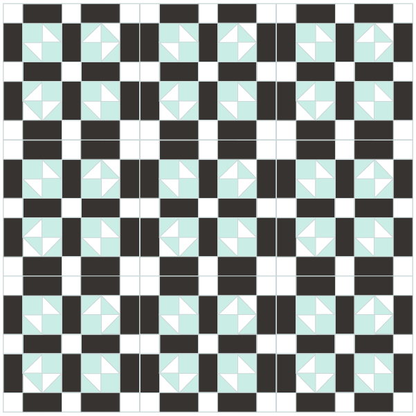 illustration of a quilt made with lover's tiff quilt blocks