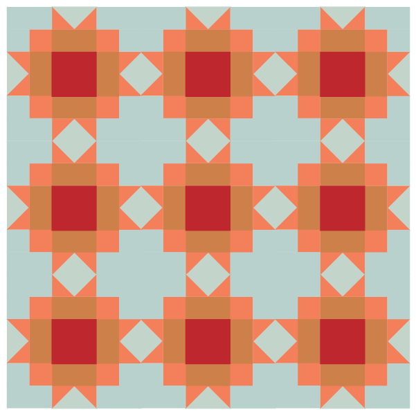illustration of a group of Maple Star Quilt Blocks