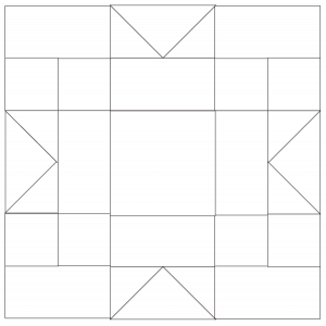 outlined illustration of maple star quilt block