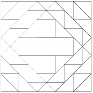 outlined illustration of the memory quilt block