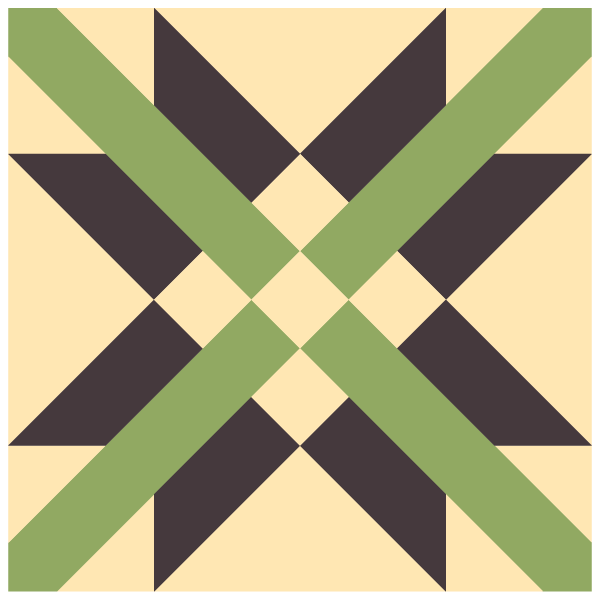 Illustration of Alternate Colorway for Mexican Cross Quilt block