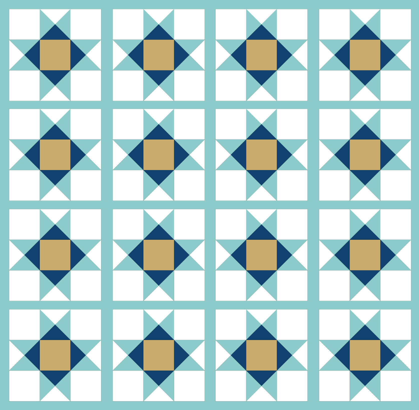 Illustration of a Quilt made with Ohio Star Quilt Blocks with sashing