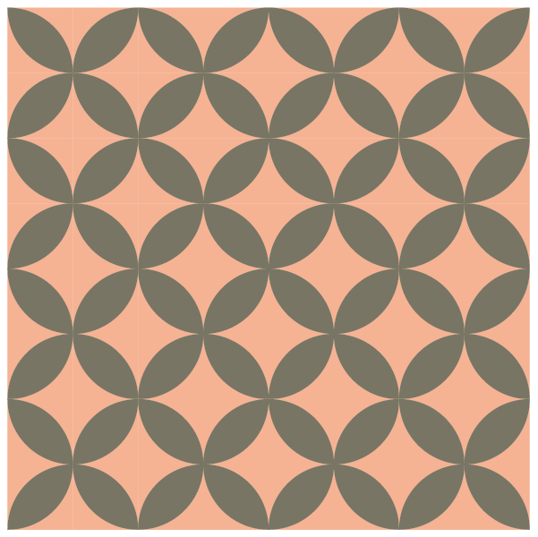 Illustration of a group of Orange Peel Quilt Blocks