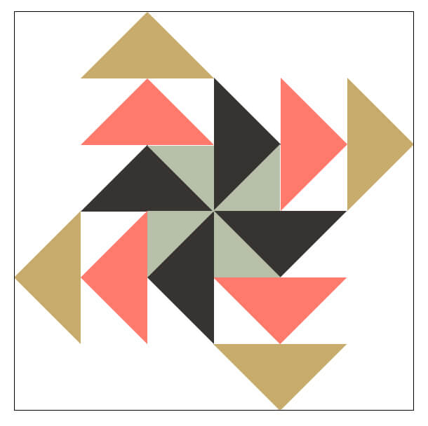 Illustration of Alternate coloring of the Pinwheel Geese Quilt Block showing the center pinwheel