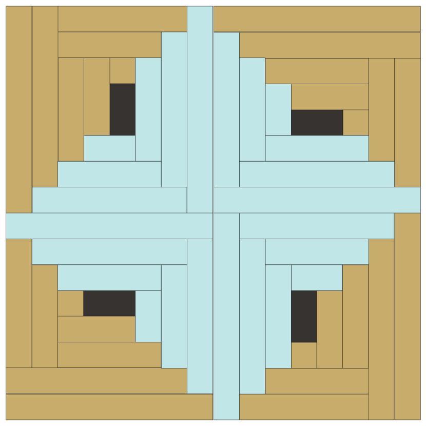 Image of Grouping of four Rectangular Log Cabin Quilt Blocks