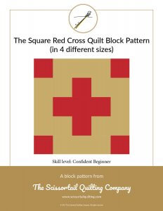 Click to download pattern for the Square Red Cross Quilt Block