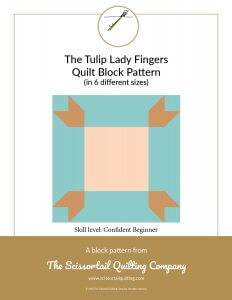 Click to download pattern for the Tulip Lady Fingers Quilt Block
