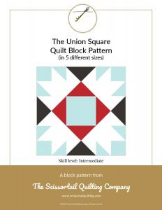 Click to download pattern for the Union Square Quilt Block