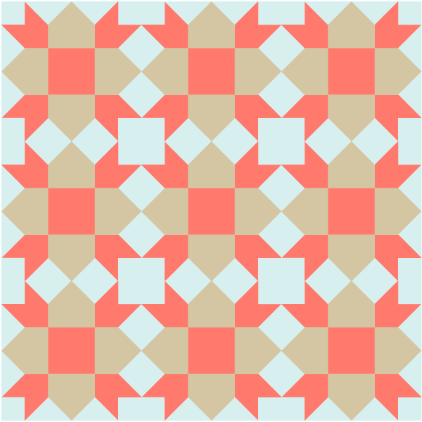 Illustration of A grouping of Weathervane Quilt Blocks