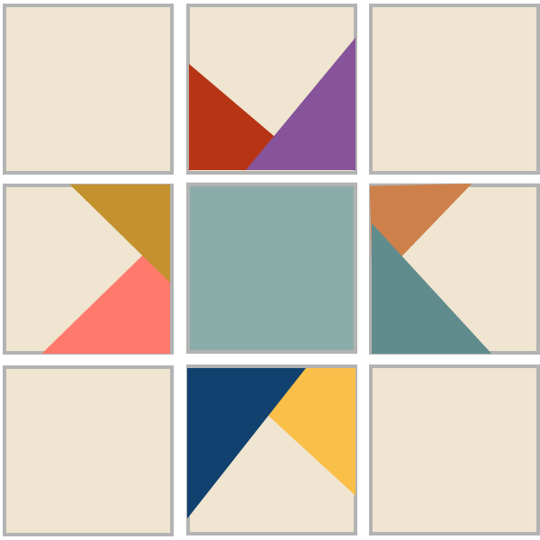 Image of Exploded version of Wonky Star Quilt Block