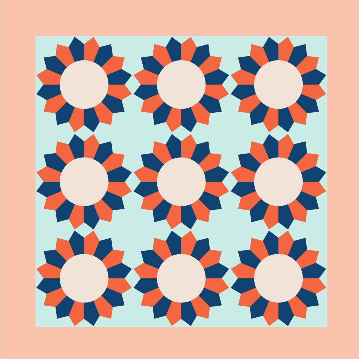 Illustration of a group of Dresden Quilt Blocks